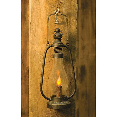 NEW Primitive Country Rustic Farmhouse Black Metal Lantern W LED Timer Candle