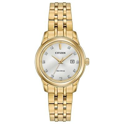 Citizen Eco-Drive Womens Diamond Collection Gold-Tone 28mm Watch EW2392-54A