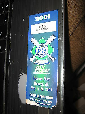 2001 LSU SEC baseball tournament NCAA any session dr pepper hoover al