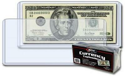 25 Banknotes Rigid Sleeves For Modern Size US Currency Notes BCW Topload Holders