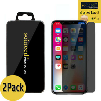 2-Pack Soineed iPhone X Privacy Anti-Spy REAL Tempered Glass Screen Protector