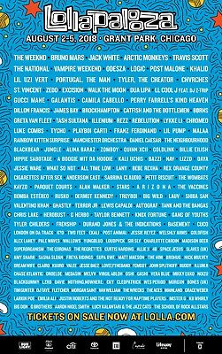 2018 Lollapalooza Festival - VIP Lolla Lounge 4 Day Pass - VIP