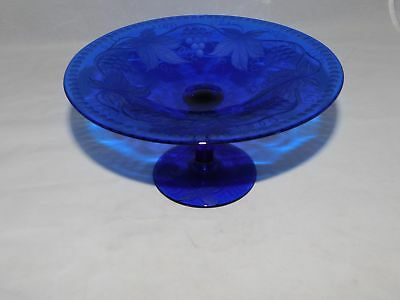 PAIRPOINT COBALT BLUE STEMMED COMPOTE WITH GRAPE LEAF AND VINE PATTERN