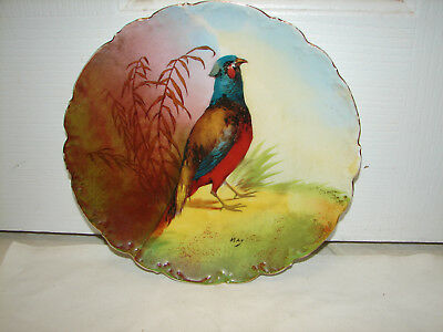 Limoges 10 Game Bird Plate  PheasantHand Painted Signed Max
