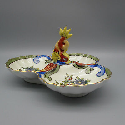 Noritake Art Ware Dolphin Handle Colorful 3-Part Candy Dish