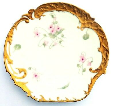 Atq P-B ELITE Limoge China Cabinet Wall Plates Heavy Gold Pink flowers 8-5 1