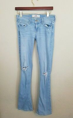 Hollister Co Girls Juniors Classic distressed destroyed Denim Jeans Pants 5 Long