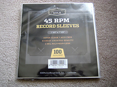 100 NEW PLASTIC 45 RPM RECORD SLEEVES 2 MIL THICKNESS FOR 7 INCH VINYL RECORDS
