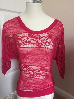 NWT Wet Seal Hot Pink Lace Sheer Top Shirt Size M Medium MSRP 22-50 CUTE