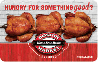 50 Boston Market Physical Gift Card For Only 42-50 - FREE 1st Class Delivery