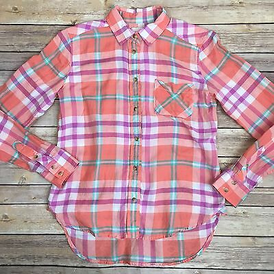 XS AMERICAN EAGLE OUTFITTERS Peach Orange Plaid Womens Lightweight Shirt Cotton