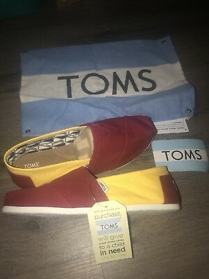TOMS WOMENS USC CANVIS SLIP ON SHOES SIZE 9 Red Yellow