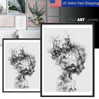 Modern Black-White Girl Canvas Print Painting Wall Art Picture Poster Decoration