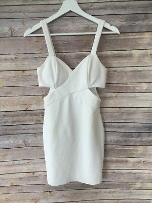 Wet Seal White Exposed Zipper Side Cut-out Textured Lined Bodycon Dress Size XS