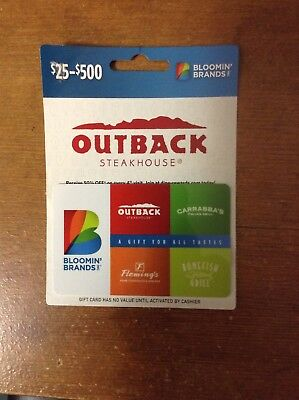 Carrabba's Outback Steakhouse Bonefish Grill Roy's Fleming's 25 Gift Card