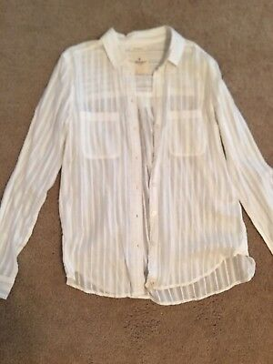 American Eagle Outfitters AEO Brand Blouse Top Size Small White Summer