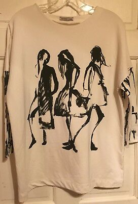 ZARA Wb Collection Artsy Dancers Graphic Black-White Long Sleeve ShirtLClean