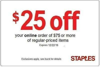 GUARANTEED Staples 25 off 75 reg priced online 20 30 50 60 90  coupon q