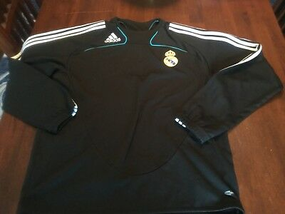 Real Madrid Adidas Warmup Jersey Black Mens Medium EUC Football Club Soccer