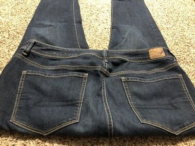 AE AMERICAN EAGLE OUTFITTERS MID RISE SUPER SKINNY STRETCH WOMENS JEANS 14 L