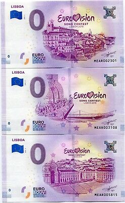 Eurovision Song Contest 2018 Lisbon Portugal 0 Euro Souvenir Note Set of 3 Notes