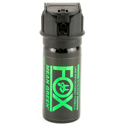 PS Fox Labs Mean Green Tactical Police 1-5oz Flip-Top Fog Pattern Pepper Spray