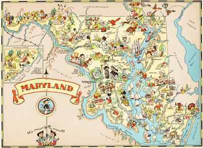 Canvas Reproduction Vintage Pictorial Map of Maryland Print Ruth Taylor 1935