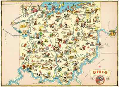Canvas Reproduction Vintage  Pictorial Map of Ohio Ruth Taylor 1935
