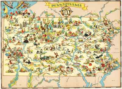 Canvas Reproduction Pictorial Map of Pennsylvania Ruth Taylor 1935