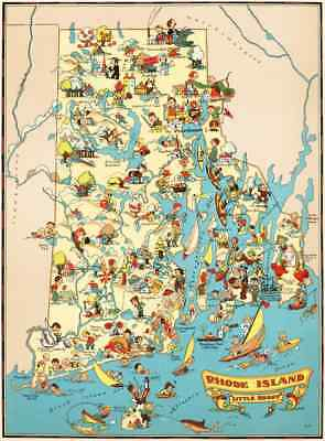 Canvas Reproduction Pictorial Map of Rhode Island Ruth Taylor 1935