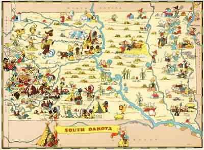 Canvas Reproduction Vintage Pictorial Map of South Dakota Ruth Taylor 1935