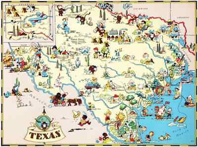 Canvas Reproduction Vintage Pictorial Map of Texas Ruth Taylor 1935