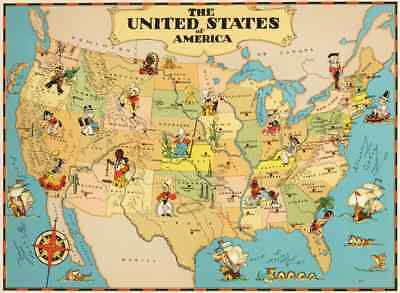Canvas Reproduction Vintage Pictorial Map of USA Ruth Taylor 1935