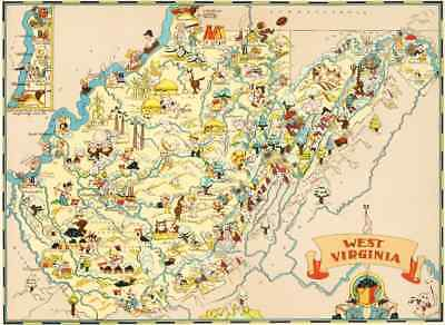 Canvas Reproduction Vintage Pictorial Map of West Virginia Ruth Taylor 1935