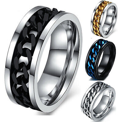Mens Anxiety Spinner Ring Stainless Steel Curb Chain Wedding Band Comfort Fit