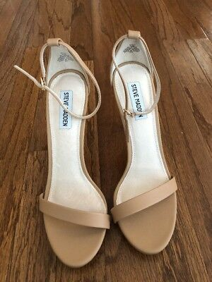 Steve Madden Stecy Leather Nude Ankle Strap Sandal Heels Sz 9-5