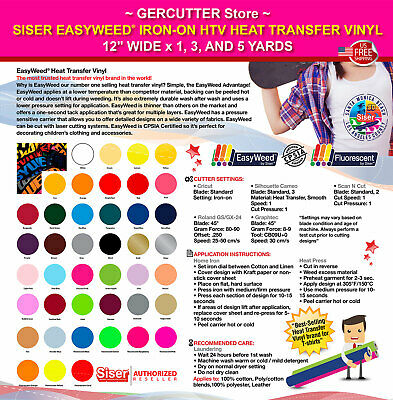 Siser easyweed iron-on htv heat transfer vinyl 12 wide x 1 3 and 5 yards
