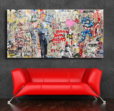 Graffiti art Einstein Mural  42 x 24 Canvas Print Giclee Mr- BrainwashBanksy