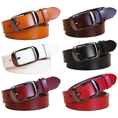 Womens Jean Belt Classic Buckle Handcrafted Genuine Leather Belt