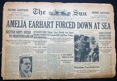 July 3 1937 - The Sun New York - Amelia Earhart Forced Down At Sea