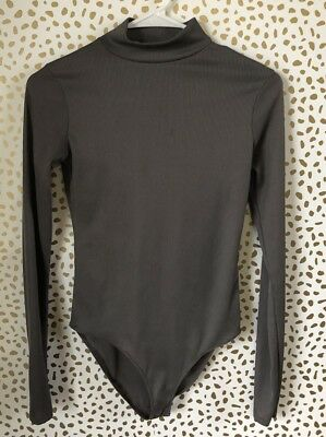 Zara Trafaluc mock neck one piece gray size S ribbed long sleeve