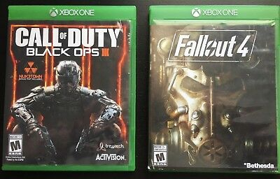 Xbox One Call of Duty Black Ops III and Fallout 4 Bundle Discs - Cases Included