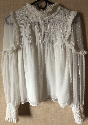 Zara Trafaluc Collection White Blouse Shirt Size Small