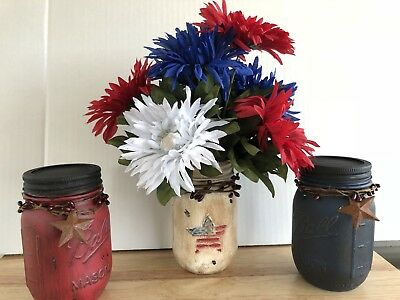 Red White Blue Patriotic Fourth Of July Ball Mason Jar Home Decor Set Handmade