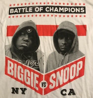 Hip Hop Rap Music Battle Mens Shirt NY BIGGIE SMALLS vs- CA SNOOP DOGG XL