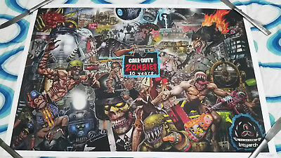 Rare COD Black Ops 4 Zombies 10th Anniversary LE Poster 639 out of 2000