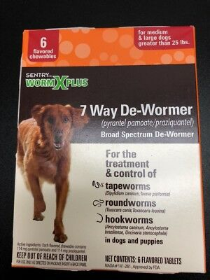 Sentry Worm X Plus 7 Way De-Wormer 6 Count Over 25 Lbs BRAND NEW FREE SHIPPING