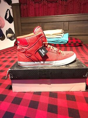 men casual high top shoes Supra Vaider Size 11 Red White Skating Limited Edition