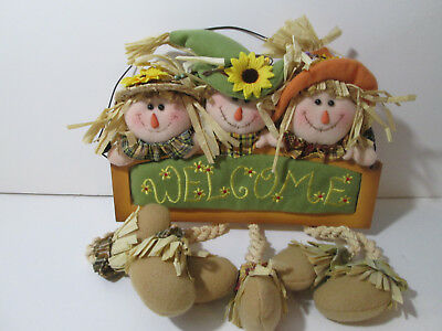 Welcome Scarecrow Sign Fall Thanksgiving Holiday Decor NEW