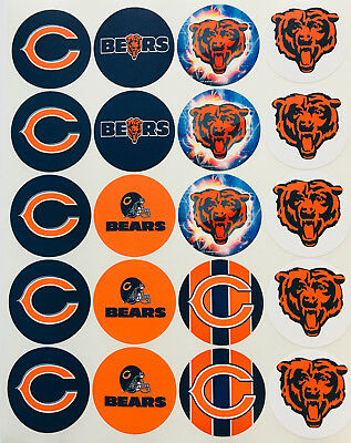 SET of 20- 2 CHICAGO BEARS ADHESIVE STICKERS-Football-Make Cupcake Toppers